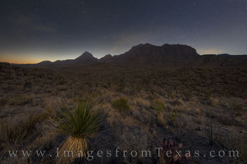 big bend, chisos mountains, full moon, dawn, stars, night, chihuahuan desert, yucca