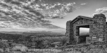 Davis Mountains Sunrise Panorama Black and White 5