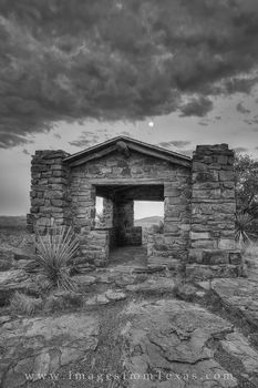 Stone Structure in the Davis Mountains in Black and White 1