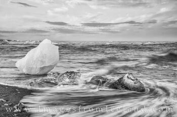 Diamond Beach Icebergs in Black and White 4