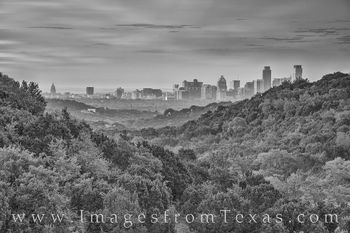 downtown austin, skyline, 360 lookout, morning, capitol, capital, jenga, frost, austonian, black and white