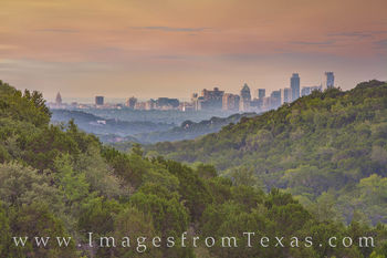downtown austin, skyline, 360 lookout, morning, capitol, capital, jenga, frost, austonian