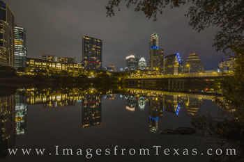 austin skyline, downtown, austonian, frost tower, ladybird lake, town lake, austin texas, reflections, night, evening