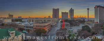 san antonio, downtown, torch of friendship. tower of the americas, marriott rivercenter, skyline, morning, sunrise