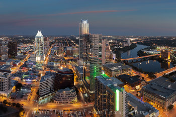 austin cityscape,frost tower,austonian,lady bird lake,austin at night