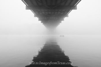 Fishing and Fog at the 360 Bridge Black and White