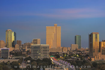 fort worth skyline photos, downtown ft worth, ft worth high rises, 7th street bridge, burnett plaza