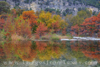 garner state park, frio river, fall colors, autumn colors, cypress, reflection, Autumn prints, texas fall colors, morning