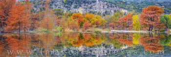 Frio River, Fall colors, garner state park, spillway, cypress, autumn, red, orange, gold, morning