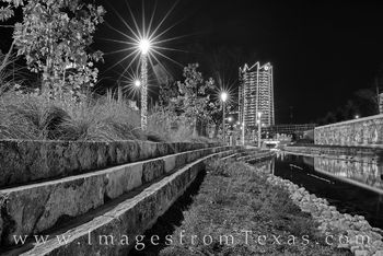 frost tower, san antonio, san pedro creek, mural, culture park, skyline, water, reflection, high rise, west, night, black and white