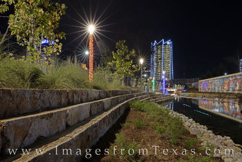 frost tower, san antonio, san pedro creek, mural, culture park, skyline, water, reflection, high rise, west, night