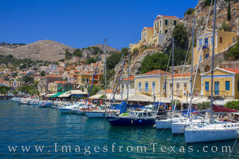 greek islands, symi, port, harbor, greece, aegean, boats, panormitis