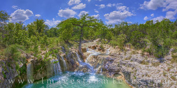 Hill Country Waterfall Summer Panorama 613-1