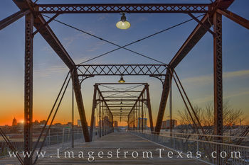 hays street bridge, san antonio, skyline, sunset, december, east side
