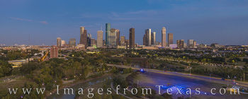 houston, skyline, aerial, city, downtown, panorama, buffalo bayou, police memorial, evening, houston skyline
