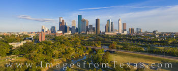 buffalo bayou, houston skyline, afternoon, november, drone, aerial photogaphy, Houston aerial, aerial, blue sky, panorama