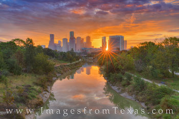houston skyline, buffalo bayou, sunrise, cityscape, morning, orange, glow, sunshine, houston, skyline