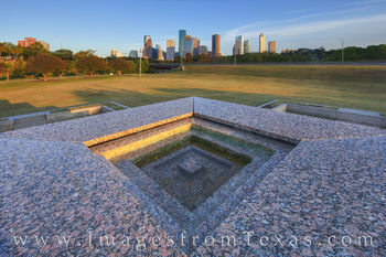 Houston police memorial, houston skyline, buffalo bayou, afternoon, downtown houston, outdoors