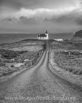 Ingjaldshólskirkja, West Iceland Black and White
