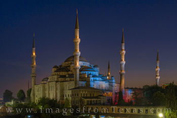 blue mosque, Sultan Ahmed Mosque, istanbul, turkey, black sea, evening, night, domes, minarets