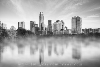 lady bird lake images,austin skyline images,zilker park,fog,skyline reflection,austin texas,black and white