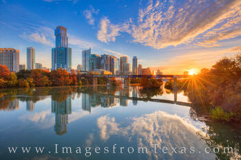 austin skyline, sunrise, pfluger bridge, pedestrian bridge, downtown austin, ladybird lake, town lake, austin, zilker park, texas sunrise, autumn, fall colors