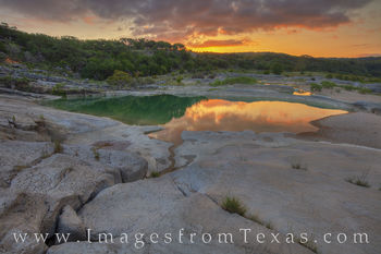 water, pedernales river, river, sunrise, morning, orange, texas hill country, pedernales falls, state parks, limestone, summer