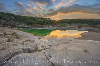 texas hill country, pedernales river, sunrise, pool, sunburst, pedernales falls, state park, august, summer, morning