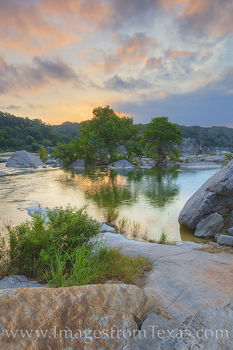 pedernales river, texas hill country, sunrise, pedernales falls state park, clouds, orange, blue, rocks, river, water, hill country