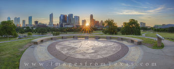 austin skyline, austin panorama, austin skyline photos, downtown austin, austin texas, sunrise austin, doug sahm hill, zilker park, lady bird lake, austin highrise, panorama, texas skylines