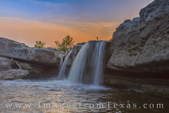 mckinney falls, great white heron, lower falls, texas state parks, austin, waterfall, cascade, evening, sunset, prints for sale