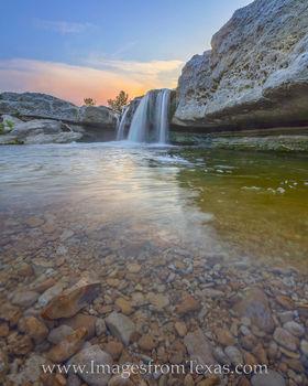 lower falls, mckinney falls, austin, texas state parks, summer, sunset, evening, waterfall, cascade