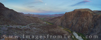 rio grande, big bend ranch, full moon, moonrise, texas, mexico, dom rock, FM 170, panorama