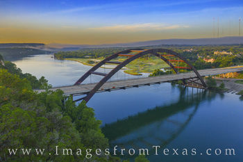 360 Bridge, drone, aerial, pennybacker bridge, sunrise, fog, clouds, colorado river
