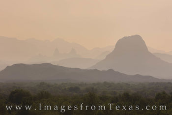big bend, cerro castellan, mule ears, haze, fog, morning, ross maxwell, chisos, chihuahuan desert