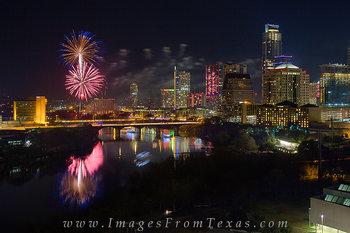 new years eve,austin texas,austin texas images,austin skyline,fireworks,austin fireworks