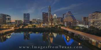 Austin Skyline Panorama at Night from the Hyatt 7-4