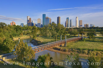 houston, skyline, afternoon, buffalo bayou, park, green, city, downtown aerial