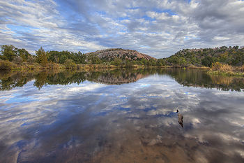 enchanted rock,texas hill country,moss lake,cloud reflections,texas landscapes,texas state parks,enchanted rock state,texas images