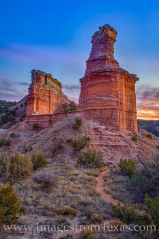 the Lighthouse, palo duro canyon, lighthouse trail, sunset, hike, explore, panhandle, canyon