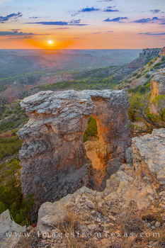 palo duro canyon, arch, alter, sunset, fortress cliff, eastern rim, palo duro prints, hiking, off trail, exploring, october