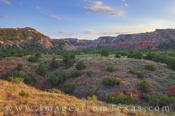 palo duro canyon, evening light, sunset, colors, lighthouse trail, summer, layers, west texas