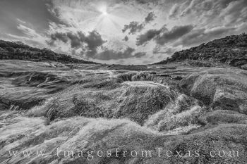 pedernales falls, pedernales river, hill country, texas state parks, cascade, waterfall, prints, black and white