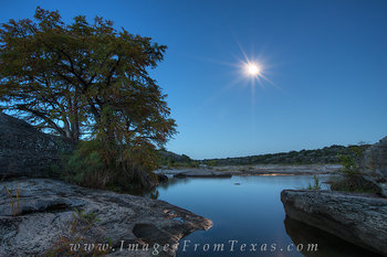 Pedernales Falls- Moonset before Sunrise