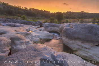 pedernales falls state park, pedernales river, sunrise, water, river, orange, state park, texas hill country, solitude, peace