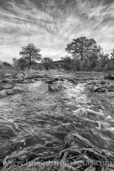 pedernales river, morning, november, black and white, hill country, fall