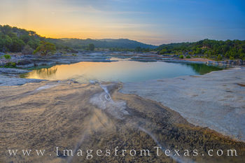 pedernales river, water, river, state park, crescent moon, moon, sunrise, peace, solitude, hill country