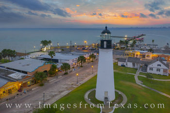 Port Isabel, lighthouse, drone, aerial, south padre, sunrise, morning, gulf of mexico, texas coast