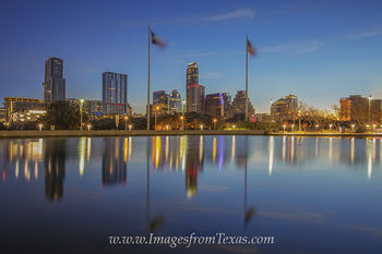 Reflection of the Austin Skyline in February 2