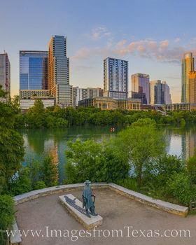 SRV Statue and Austin Skyline Evening 1